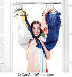 garderobe, frau