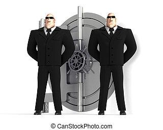 gardes, protéger, sûr, deux