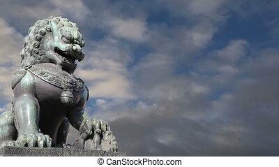 gardien, bronze, beijing, lion, statue