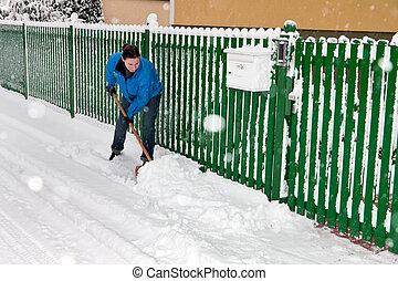 gardien, dégagement, neige