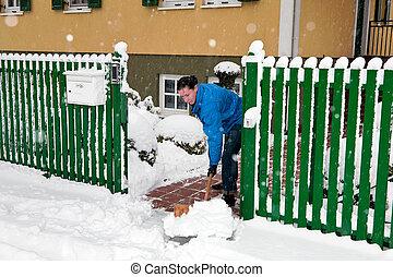 gardien, déplacement neige