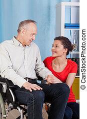 gardien, fauteuil roulant, sien, homme