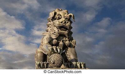 gardien, lion, bronze, statue