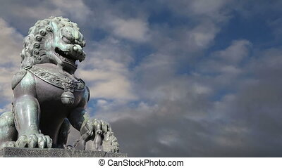 gardien, lion, statue, bronze