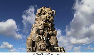 gardien, lion, statuein, beijing