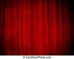 gardin, grunge, teater, röd fond