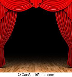 gardin, sammet, öppning, scen, röd
