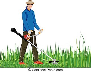 mowing grass illustrations and clip art 1 878 mowing grass royalty rh canstockphoto com Grass-Cutting Logos lawn mower cutting grass clip art
