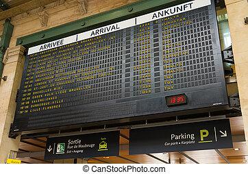 gare du nord, paris - departure board at the Gare du Nord,...