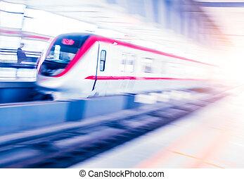 gare, en mouvement, métro