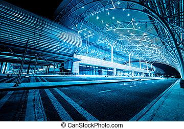 gare, moderne, nuit