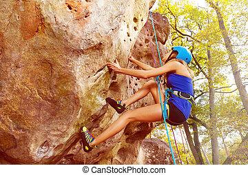 gareel, beklimming, vrouw beeltenis, rots