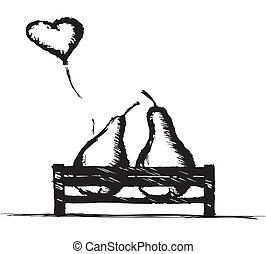 garez banc, amour, poires