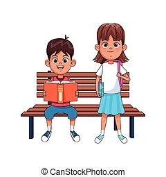 garez banc, dessin animé, girl, garçon