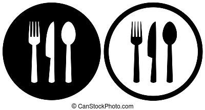 garfo, ícones, restaurante, colher, sinal, faca