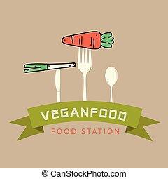 garfo, alimento, imagem, cenoura, vegan, vetorial, fundo, estação, fita