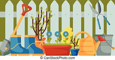 garfo, botas, pá, jardinagem, jardim, cerca, enxada, ferramentas, lata, aguando, árvore, luvas, equipamento, vetorial, tal, secateurs., pá, bandeira, trowel, seedlings., illustration.