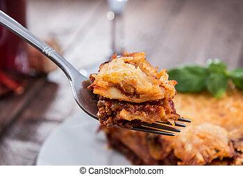 garfo, com, fresco, feito, lasanha