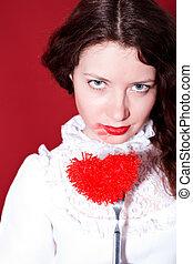 garfo, coração, mulher, vermelho