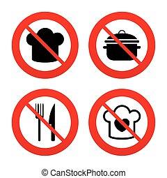 garfo, cozinhar, icons., chefe, chapéu, knife., panela