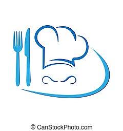 garfo, cozinheiro, menu., ilustração, knife., conceitual, logotipo, chapéu, ou