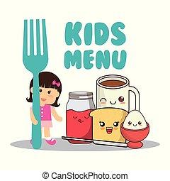 garfo, crianças, menu, dieta, menina, pequeno almoço
