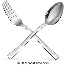 garfo, cruzado, spoon.
