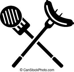 garfo, espátula, linguiça, carne, bbq