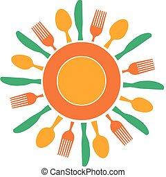 garfo, faca, e, prato, organizado, semelhante, sol amarelo