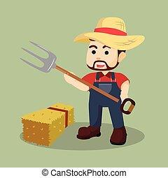 garfo, feno, agricultor