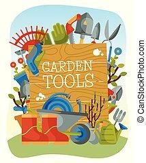 garfo, gramado, botas, cultive bandeira, can., cartaz, trowel, aguando, pás, enxada, vetorial, carrinho de mão, tal, materiais, illustration., pás, ferramentas, luvas, mower, jardim