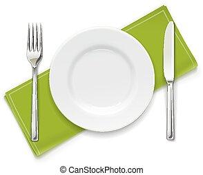 garfo, knife., jogo, utensils., prato