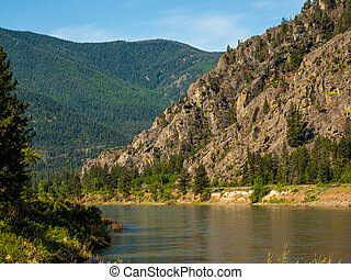 garfo, largo, rio, eua, clark, montanha, -, montana, cortes, vale