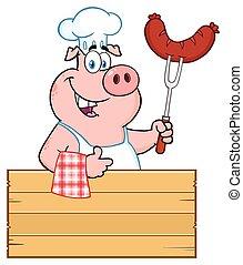 garfo, linguiça, polegar, madeira, sobre, personagem, cima, porca, cozinheiro, dar, segurando, sorrindo, sinal, caricatura, bbq, mascote