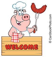 garfo, linguiça, polegar, madeira, sobre, personagem, cima, porca, cozinheiro, dar, segurando, sinal, caricatura, bbq, mascote