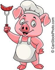 garfo, linguiça, porca, cozinheiro, segurando, caricatura, feliz