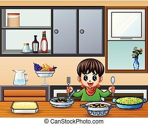 garfo, menino, pequeno, comer, colher, segurando, tabela, feliz