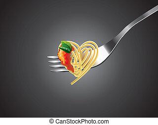 garfo, molho tomate, espaguete, manjericão