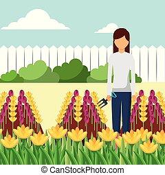 garfo, mulher, jardim, trabalhando, jardineiro