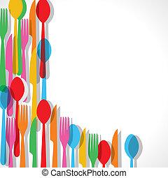 garfo, padrão, coloridos, fundo