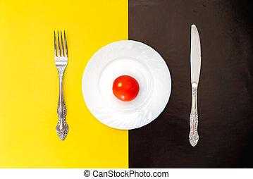 garfo, prato, concept., tempo almoço, faca
