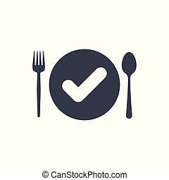 garfo, prato, confirmar, restaurante, cheque, sinal., colher, símbolo, carrapato, ícone, feito, aprovado, completado, ícone