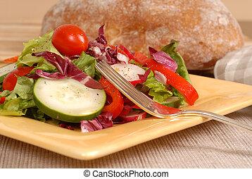 garfo, prato, crocante, salada, saudável, amarela, rústico, vista, lado, pão