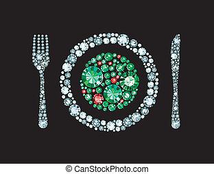 garfo, prato, diamante, faca