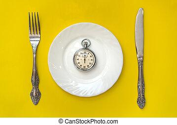 garfo, relógio, concept., tempo almoço, faca