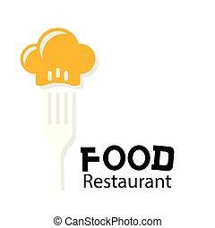 garfo, restaurante, alimento, imagem, cozinheiro, vetorial, fundo, logotipo, chapéu