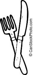 garfo, símbolo, caricatura, faca