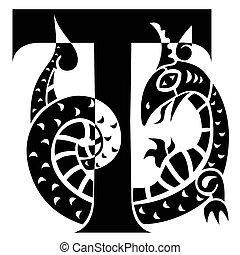 gargouille, décorer, t, lettre, capital
