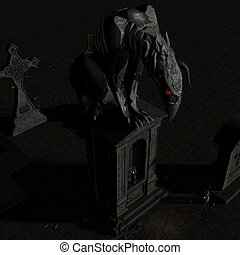 Gargoyle #01 - A nightmare made out of stone is sitting on a...