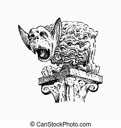 Gargoyle Chimera of Notre-Dame de Paris, engraved, hand drawn vector illustration with gothic guardians include architectual elements, vintage statue medieval
